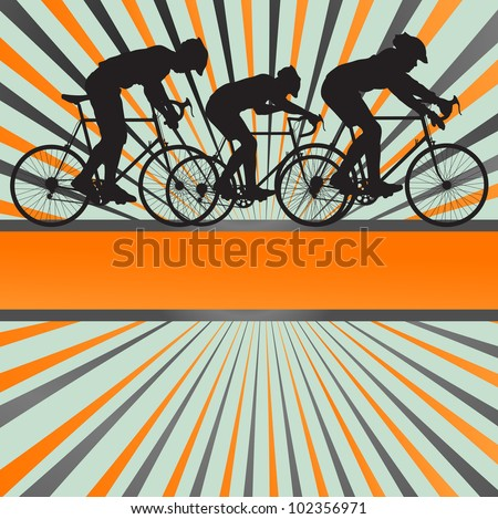 Sport road bike rider bicycle silhouette burst background