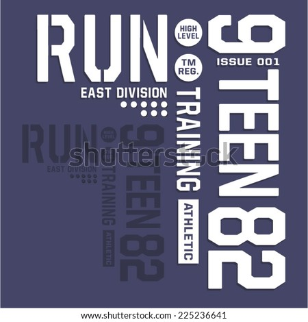 Sport run typography t-shirt graphics vectors college