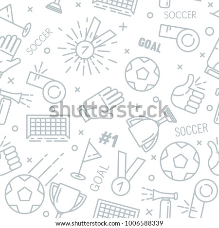 Sport seamless pattern with soccer flat outline objects on white background, vector illustration