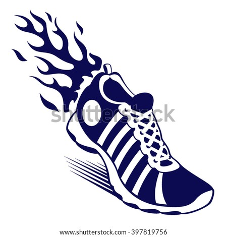 sport shoe with flame
