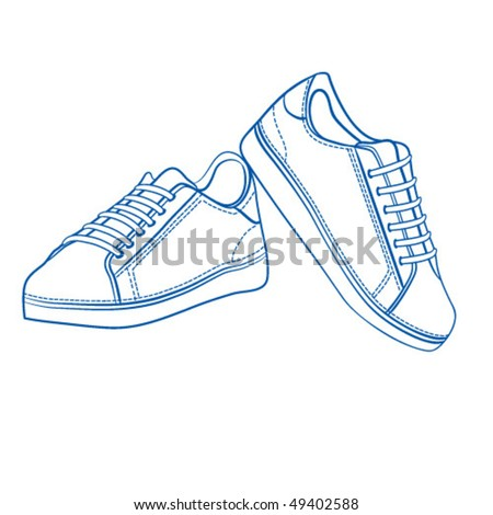 Sport shoes outlined - stock vector