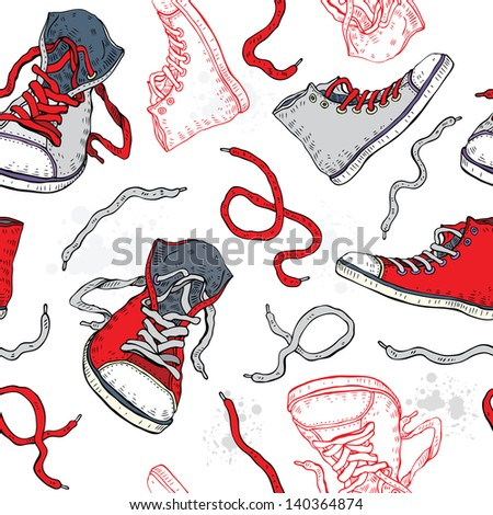 Sport shoes Sneakers Hand drawn Seamless Vector background
