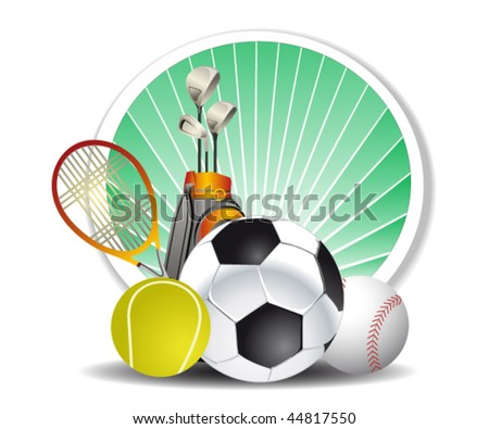 sport sign on the green backdrop - stock vector