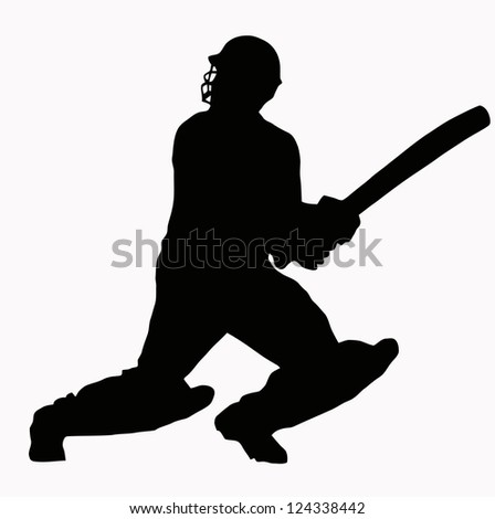 Sport Silhouette - Cricket Batsman hitting ball