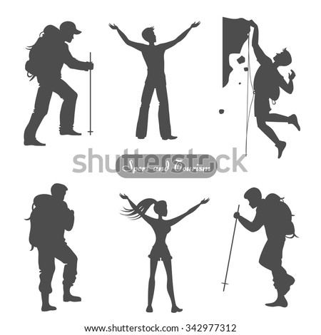 sport silhouettes hiking