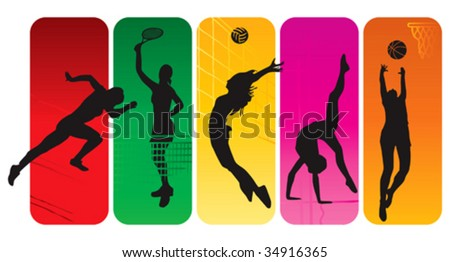 Sport silhouettes on abstract background