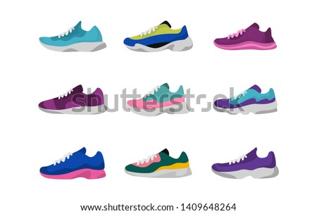 Sport sneakers shoes. Sport, running, fitness, workout shoes. Vector