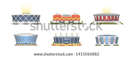 Sport stadium front view vector collection in cartoon style. City arena exterior illustration.