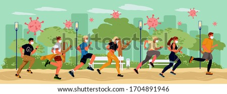 Sport stay health keep strong body to protect virus pandemic. People crowd in protective medical mask running. Coronavirus cells floating spreading city park. Stay healthy prevent infection movement