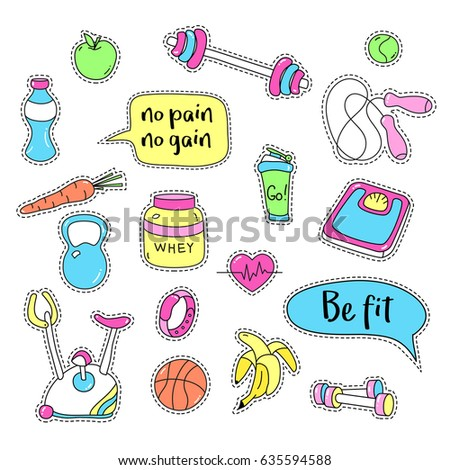Sport stickers set. Hand drawn fitness patch badges. Gym equipment doodles for textile, embroidery and labels. Sneaker, sport watch, mat, scales, barbell, cycle, shaker, healthy food and quote bubbles