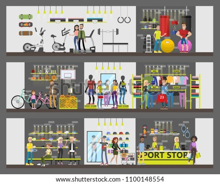 Sport store city building with customers and equipment.