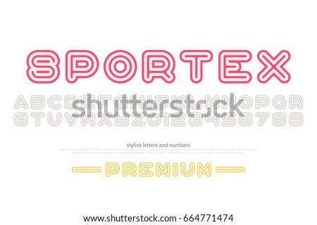 sport style alphabet letters and numbers. vector, font type design. round outline, regular lettering. stylized, linear typesetting. dynamic typeface