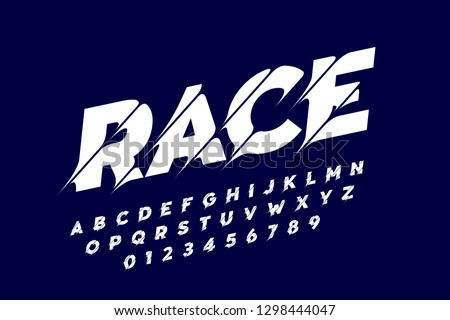 Sport style modern font, alphabet letters and numbers vector illustration