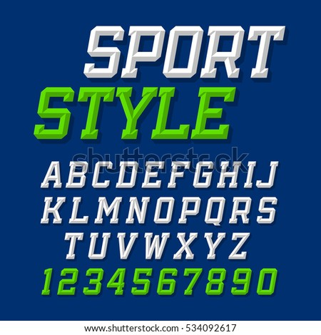 Sport style retro font on dark blue background. Alphabet and numbers.