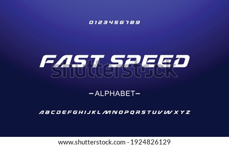 Sport style typeface. Ideal for headlines, titles or posters. Italic letters and numbers vector illustration.