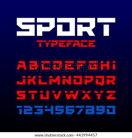 Sport style typeface. Ideal for headlines, titles or posters. Letters and numbers.