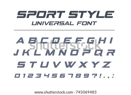 Sport style universal font. Fast speed, futuristic, technology, future alphabet. Letters and numbers for military, industrial, electric car racing logo design. Modern minimalistic vector typeface - Shutterstock ID 745069483