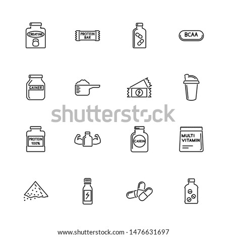 Sport Supplements, Bodybuilding Nutrition outline icons set - Black symbol on white background. Supplements Simple Illustration Symbol lined simplicity Sign. Flat Vector thin line Icon editable stroke