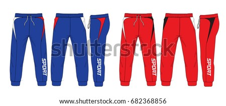 Sport sweatpants set.Sport trousers / pants isolated.