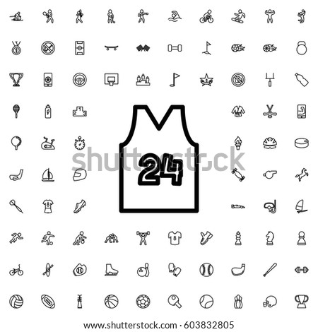 Sport t shirt number 24 icon illustration isolated vector sign symbol. sports icons vector set.