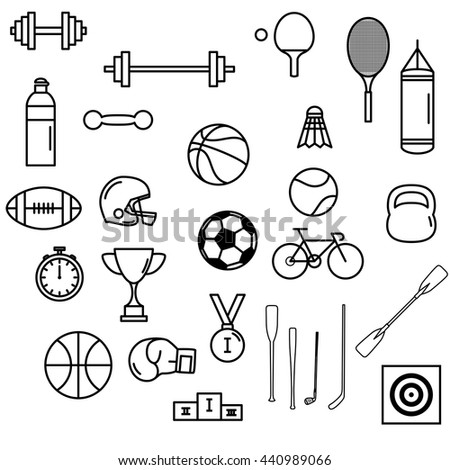 Sport themed line art icon set for web, mobile and infographics.