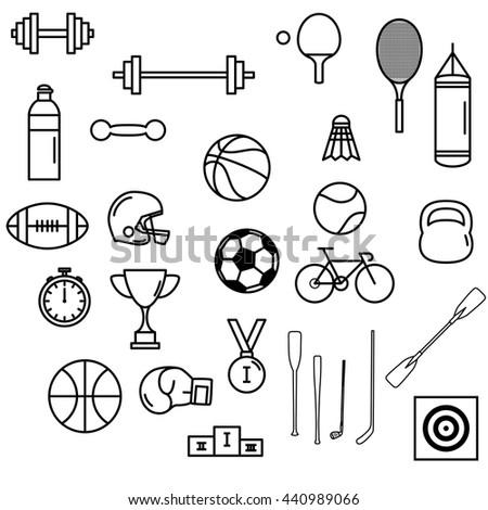 sport themed line art icon set