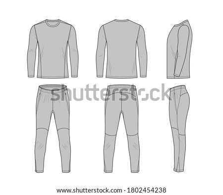 Sport training leg slim pants  and jumper flat technical template for your design. Front? back and side veiw. Vector illustration Stock photo ©