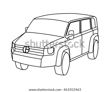 offroad suv car collection vector download free vector art stock 2011 Volkswagen Routan Minivan sport utility vehicle contour vector illustration