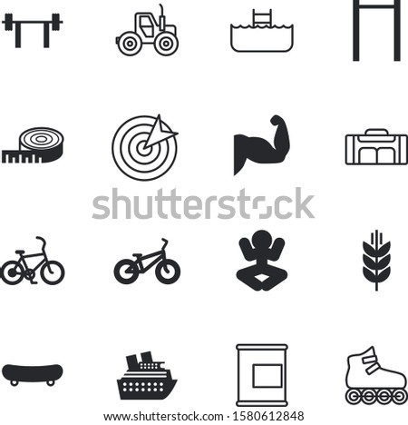 sport vector icon set such as: centimeter, type, biceps, fist, relax, cool, market, focus, decoration, shopping, entertainment, weightlifting, idea, bottle, calorie, hand, supplement, pool