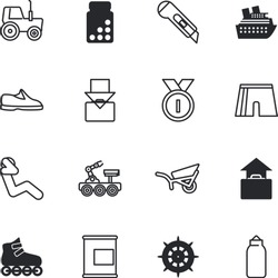 sport vector icon set such as: harvest, goal, speed, tractor, machine, rollers, wheelbarrow, medallion, line, 1st, light, running, place, skate, protective, skating, station, target, attractive