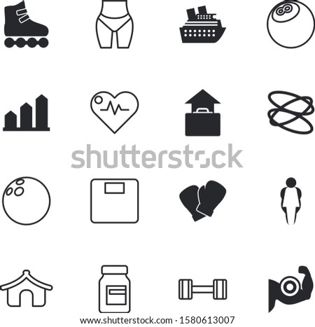 sport vector icon set such as: presentation, medicine, liner, dome, barbell, electrocardiogram, biceps, vitamins, outdoor, green, forecast, pulse, skate, doodle, gloves, before, vessel, sea, arm