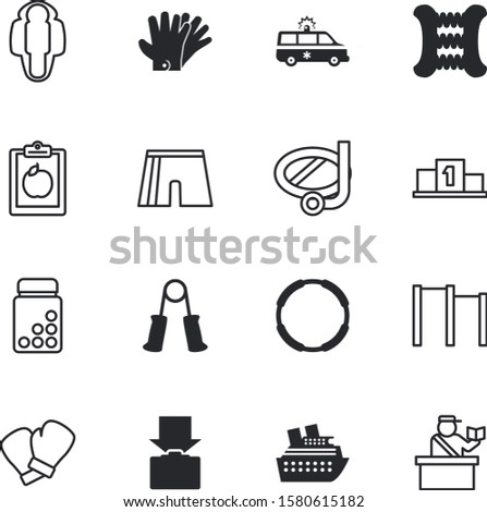sport vector icon set such as: victory, snorkeling, red, briefcase, prize, passport, whey, support, capsule, gardening, outdoor, mask, help, aid, San Francisco, women, salad, scuba, ambulance