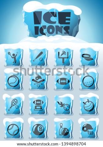 sport vector icons frozen in transparent blocks of ice