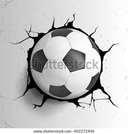 Sport vector illustration with soccer ball coming in cracked wall with grunge texture