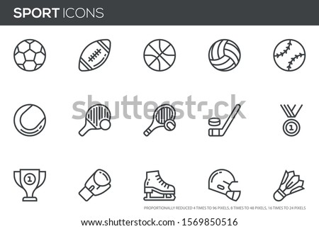 Sport Vector Line Icons Set. Sports equipment, various sports, balls, hockey. Editable stroke. Perfect pixel icons, such can be scaled to 24, 48, 96 pixels.