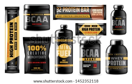 Sport vitamins containers isolated, BCAA amino acids, food supplement. Vector whey protein concentrates, creatine monohydrats, mass building gainer. Fast absorbing amino fuel, body fortress recovering