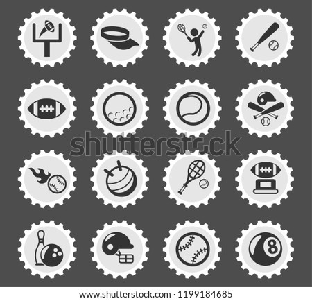sport web icons stylized postage stamp for user interface design