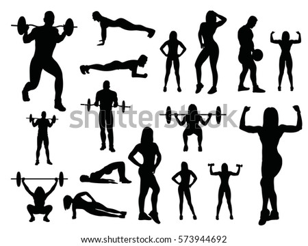 Sport woman and man silhouettes isolated on white background. Vector gym silhouette with dumbbells and barbell.
