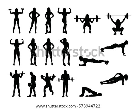Sport Woman And Man Silhouettes Isolated On White Background Vector Gym Silhouette With Dumbbells