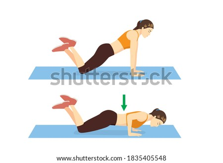 Sport woman doing exercise with Knee Push Up on Mat in 2 steps. Cartoon for workout diagram in exercise posture for flat abs. ストックフォト ©