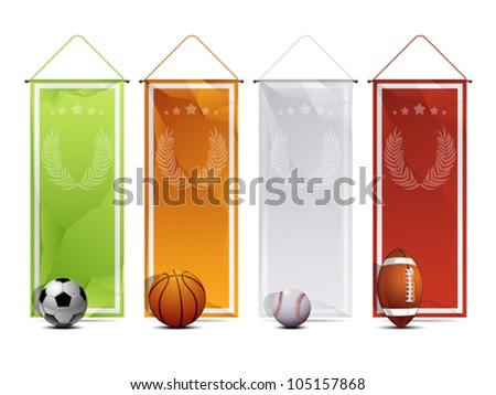 Sport wrinkled paper banners