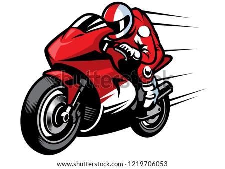 sportbike racer vector riding