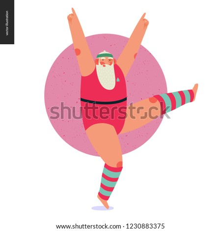 Sporting Santa -aerobics -modern flat vector concept illustration of cheerful Santa Claus doing aerobic jump dancing exercises in gym, wearing red gymnastic suit and leg warmers, xmas fitness activity