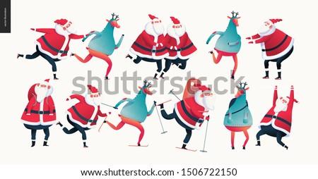 Sporting Santa and deer set - modern flat vector concept illustration of cheerful Santa deer wearing a sweater and Santa skiing, skating and standing
