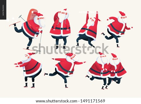 Sporting Santa set - modern flat vector concept illustration of cheerful Santa Claus skiing with a gift bag, skating. standing and hanging