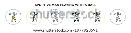 Sportive man playing with a ball icon in filled, thin line, outline and stroke style. Vector illustration of two colored and black sportive man playing with a ball vector icons designs can be used Stockfoto ©