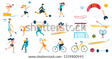 Sportive People Characters Set and Sport Equipment. Men Women Workout. Playing Golf, Tennis Basketball, Volleyball, Football, Baseball, Cycling, Diving, Lifting Weights, Surfing. Vector Illustration