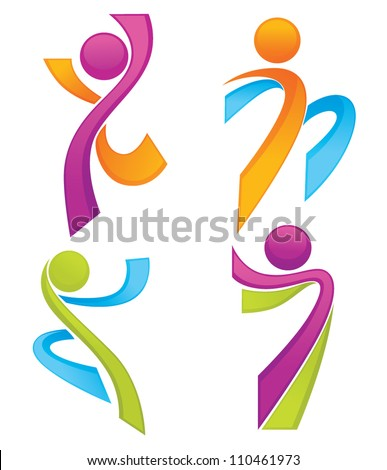 sportive people symbols look like ribbons, vector collection