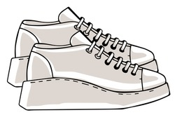 Sportive sneakers on massive platform, isolated pair of shoes for sports or daily usage and casual outfits. Modern fashionable clothes, footwear with lace. Unisex design. Vector in flat style