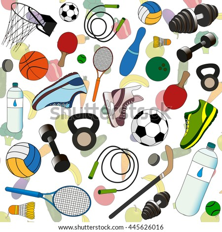 sports accessories on a